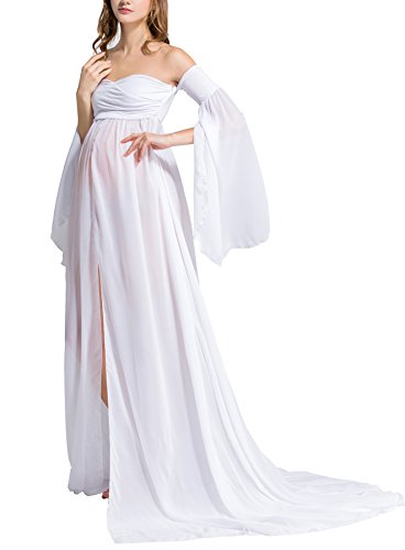 (Molliya Maternity Photography Dress Off Shoulder Long Sleeve Tube Chiffon Gown Split Front Maxi Dress for Photo Shoot/Baby Shower(White,M))