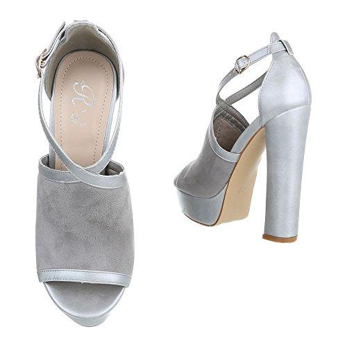 chaussures Grau Design femme Silber Ital compensées wqa75nT