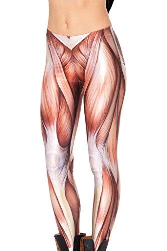 QZUnique Women's Muscle Pattern Digital Print Shaping Breathable Leggings -