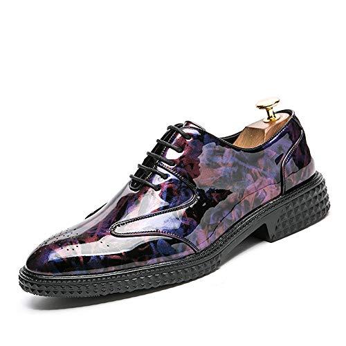 Nero Business shoes traspirante Casual 2018 Scarpe Uomo uomo in Personality Retro Dimensione brogue Color Jiuyue Da 43 EU in vernice Oxford Fashion Brush Scarpe Pelle Amaranth Colore IdBq5w