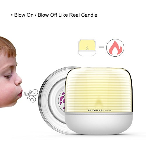 PLAYBULB LED Candle, Smart Bluetooth Flameless Candle, Color Changing Battery Operated Rechargeable Electric Candle with Timer and APP Remote Control for Party/Candle Holder/ Night Light/Wedding Decor