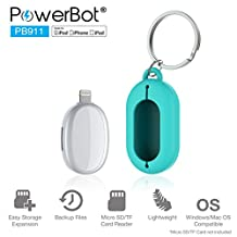 Lightning Flash Drive, Apple MFi Certified Memory Storage Expansion Disk, PowerBot PB911 OTG TF / Micro SD Slot Card Reader (Memory Not Included) Portable Adapter Connector for iPhone and iPad iOS