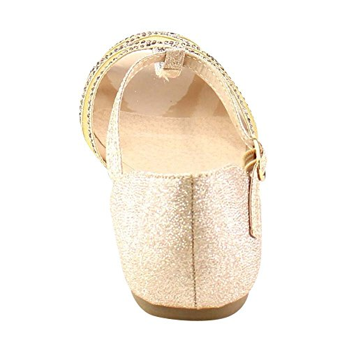 Beston Gb81 Vrouwen T-strap Peep Teen Slip Op Platte Sandaal Champagne