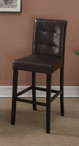 Dark Brown Leather Bar Stools Set of 2 Tufted Parson Bar Chairs (Tufted Leather Bar Stool)