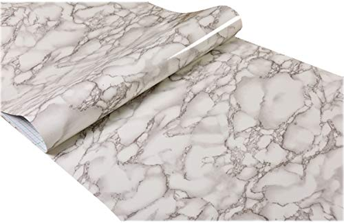 (Faux Grey Marble Contact Paper Self adhesive Film Peel and Stick Marble Shelf Liner for Kitchen Countertop Cabinets Backsplash Crafts Projects (24 by 197 inches))