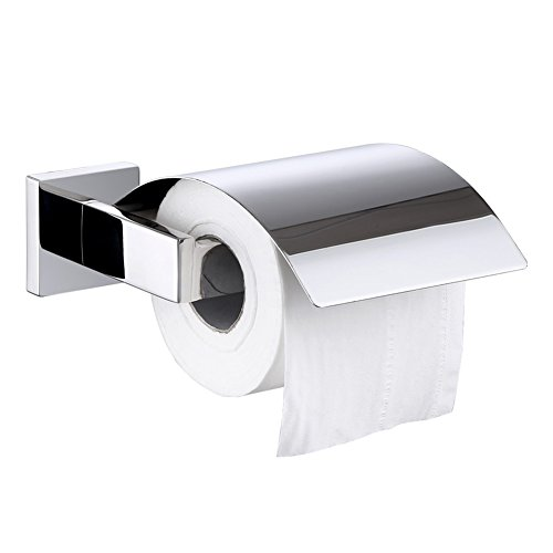 Toilet Paper Holder with Cover, Angle Simple SUS304 Stainless Steel Bath Tissue Holder, Toilet Paper Tissue Roll Dispenser with Flap, Dustproof Toilet Tissue Hanger Wall Mount, Polished Chrome by Angle Simple