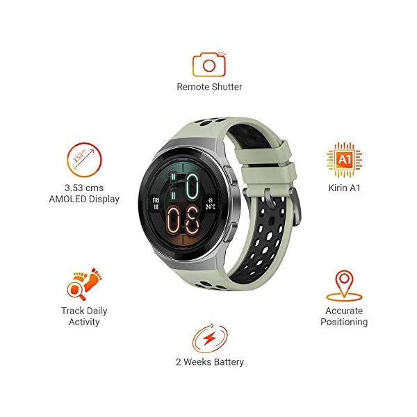 41EmHVCilUL HUAWEI Watch GT 2e Active (Mint Green, 46mm, 2 Weeks Battery, Music Control, 100 Workout Modes, SpO2 & Heartrate Monitor…
