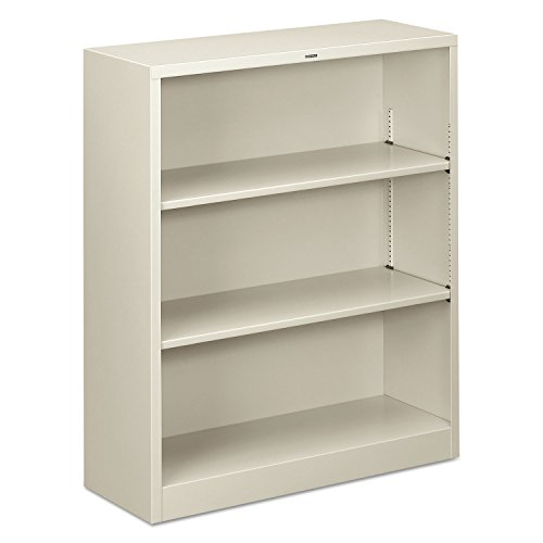 HON Metal Bookcase - 34.5quot; x 12.6quot; x 41quot; - Steel - 3 x Shelf(ves) - Rust Resistant, Heavy Duty - (Heavy Duty Steel Bookcase)