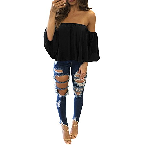 Aniywn Women Sexy Off Shoulder Half Sleeve Solid Chiffon Pullover Tops Casual T-Shirt Black ()