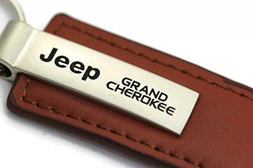 Au-Tomotive Gold, INC. Jeep Grand Cherokee Leather Key Chain Brown Rectangular Key Ring Fob