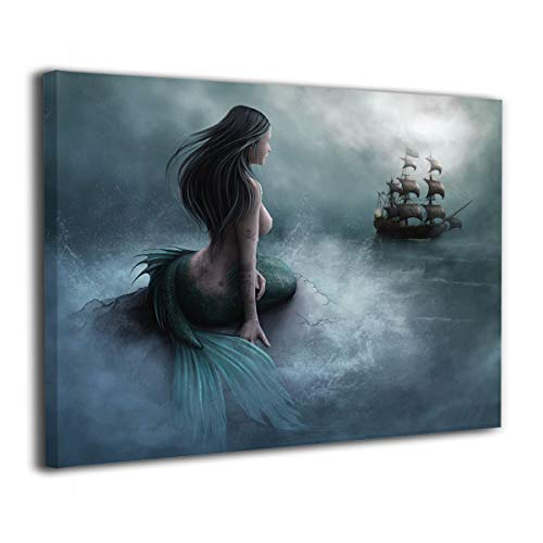 Okoart Canvas Wall Art Prints Mermaid and The Sailing Pirate Ship Fantasy -Photo Paintings Contemporary Decorative Giclee Artwork Wall Decor-Wood Frame Gallery Wrapped 16