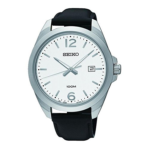 (Seiko Men's 42mm Black Leather Band Steel Case Hardlex Crystal Quartz White Dial Analog Watch SUR213)