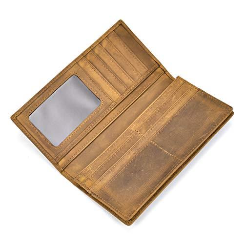 Men's Genuine Leather Long Wallet With Zipper Pocket Vintage Bifold Checkbook ()