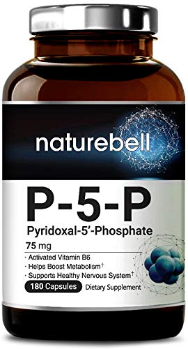 P-5-P (Pyridoxal-5-Phosphate) 75mg, 180 Capsules, Activated Vitamin B6, Powerfully Boosts Metabolism and Supports Nervous System, Non-GMO and Made in USA