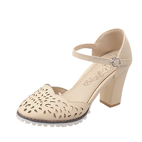 Charm Foot Mujeres Hollow Out Tacón Grueso Mary Jane Pumps Zapatos Beige