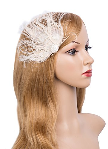 (1920s Gatsby Acessories Peacock Costume Hair Clip with Feather Pearl 1920 Flapper Headpiece)