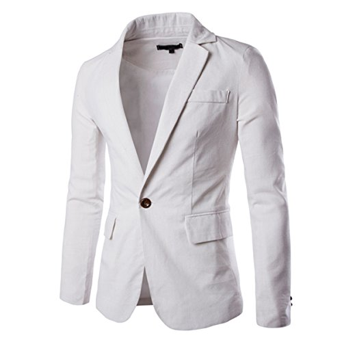 Pishon Men's Linen Blazer Lightweight Casual Solid One Button Slim Fit Sport Coat, White, Tag Size XXXL=US Size ()