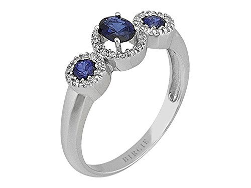 Blue Sapphire and Diamond Triology Cluster Ring in 18K Gold