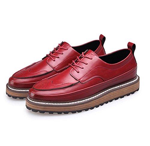 WZG Inglaterra tallada zapatos casuales complejos de los hombres Gubuluoke los calzados informales de los hombres para ayudar a los zapatos bajos Red