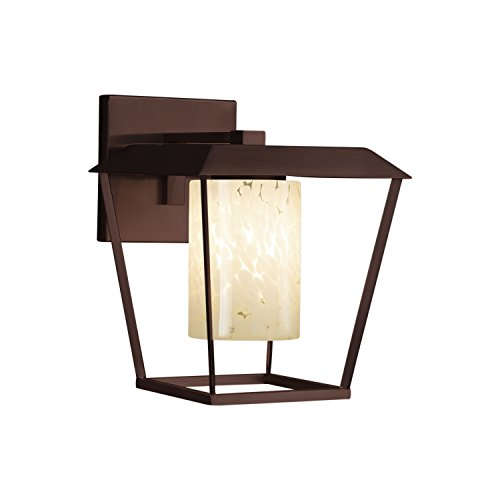 Fusion - Patina Large 1-Light Outdoor Wall Sconce - Cylinder with Flat Rim Artisan Glass Shade in Droplet - Dark Bronze Finish - Patina Outdoor Sconce