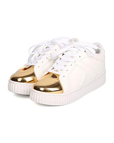 Qupid Dames Kunstleer Afgedekte Teen Flatform Sneaker - Casual, School, Urban Fashion - Metallic Creeper Sneaker Gb89 By White