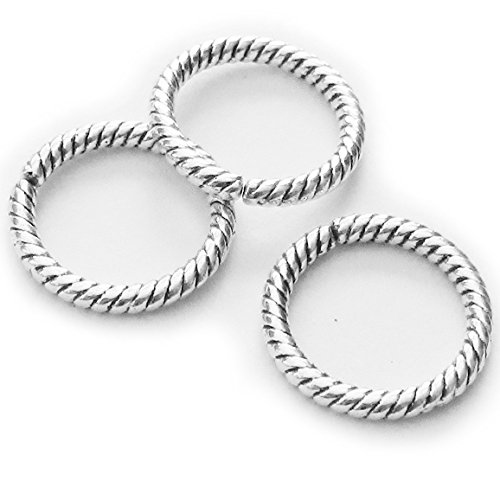 Heather's cf 135 Pieces Silver Tone Twist Open Circle Findings Jewelry Making13mm(I) - Silver Open Twist