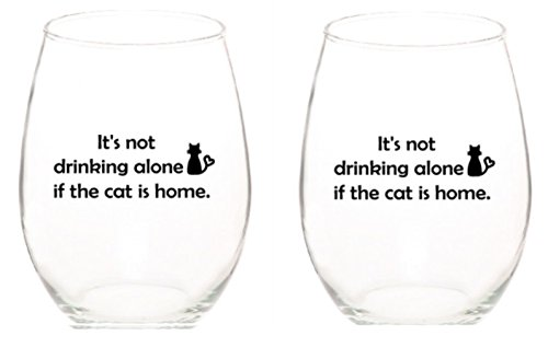 It's Not Drinking Alone if the Cat is Home Tritan Unbreakable Acrylic Plastic Unique Stemless 15 ounce Funny Wine Glasses Set of 2 by Monkeyshine Wine (2 Cat PL) (2)