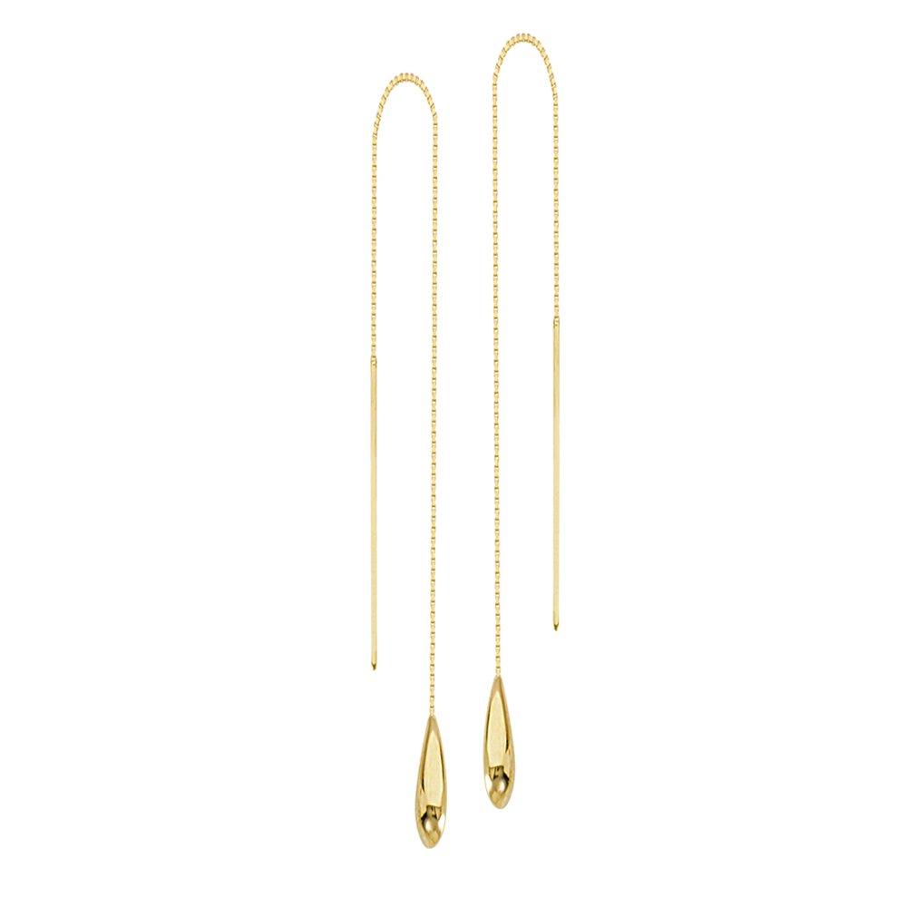 Threader Earrings, 14Kt Gold Wire Threader Earrings
