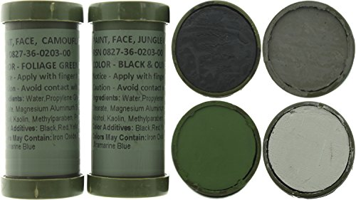 Army Universe Camo Face Paint, NATO Military Camouflage Outdoor Makeup Jungle Paint Sticks (2 Sticks (4 Colors) - Black, Olive Drab, Foliage Green & Grey) ()