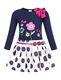 HenzWorld Kids Girls Long Sleeve Cotton Dress Rainbow Unicorn Clothes Toddler Child Striped Party Outfit 2-7 Years