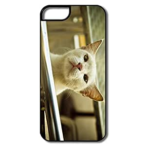 IPhone 5/5S Hard Plastic Cases, White Cat Smelling Air White/black Protector For IPhone 5/5S