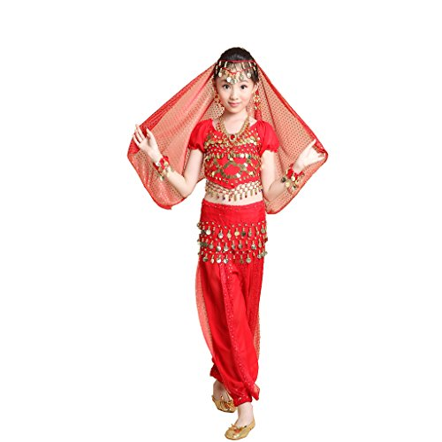 Pilot-trade Kid 3-Piece Indian Dance Dress Set Halloween Belly Dance Costumes Red (Red Belly Dancing Costume)