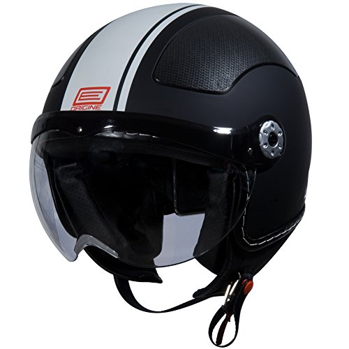 Origine O528 Pilota 3/4 Helmet (Flat Black, Large) (White Gara) (Vespa Helmet White)