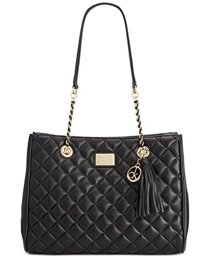 Calvin Klein Quilted Leather Tote Bag Black Gold One