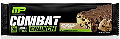 Mp Muscle Pharm Combat Crunch Snack Bar, Chocolate Chip Cookie Dough, 4 Bars (Pack of 2)