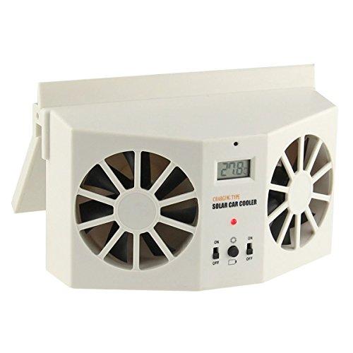 URXTRAL Solar Dual Fan Car Front/Rear Window Air Vent Cool Cooler Fan Windshield Fan - Dual Exhaust Ducts