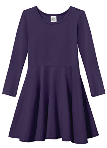 Purple Chick - City Threads Little Girls' Super Soft Cotton Long Sleeve Twirly Skater Party Dress, Purple, 4