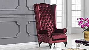American Eagle Furniture Pennington Collection High Back Fabric Living Room Accent Chair with Tufted Back and Floral Accents, Red