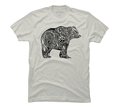 Silver Bear Design - Tribal Bear Men's 3X-Large Silver Graphic T Shirt - Design By Humans