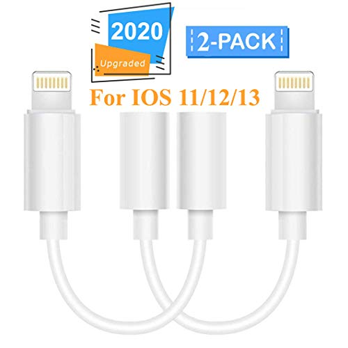 Lighting to 3.5 mm Headphone Adapter Earphone Earbuds Adapter Jack 2 Pack,Easy and Convenient,Compatible with Apple iPhone 11 Pro Max X/XS/Max/XR 7/8/8 Plus Plug and Play Microscope Lenses