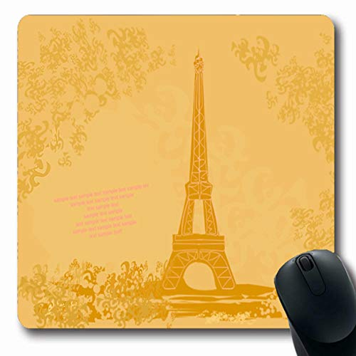 Ahawoso Mousepad for Computer Notebook Aged Vintage Eiffel Abstract Parisian Memories Album Artistic Autumn Border Design Cardboard Oblong Shape 7.9 x 9.5 Inches Non-Slip Gaming Mouse Pad (Parisian Memories)