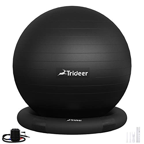 Trideer Ball Chair – Exercise Stability Yoga Ball with Base for Home and Office Desk, Ball Seat, Flexible Seating with…