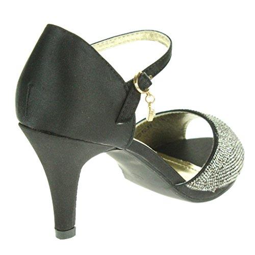 Mujer Señoras Diamante Peep Toe Correa de tobillo Tacón alto Noche Fiesta Nupcial Boda Paseo Sandalias Zapatos Tamaño Negro