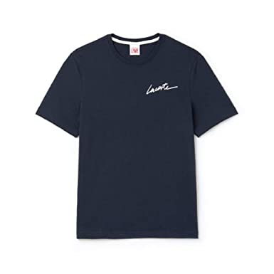 49e989528a Lacoste Men's Live Crew Neck Signature Jersey T-Shirt (X-Large ...