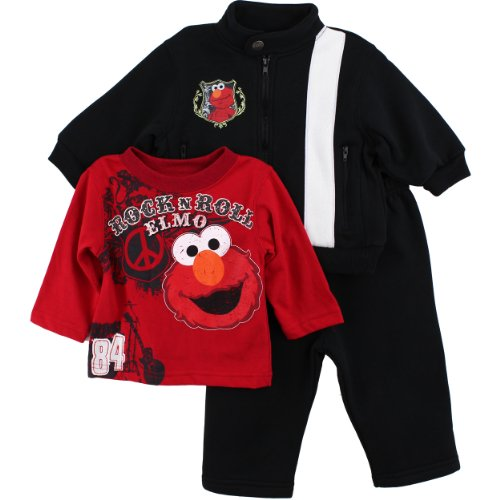 Elmo Infant Black 3 pc Sweatshirt T-Shirt Pants Set (18M)