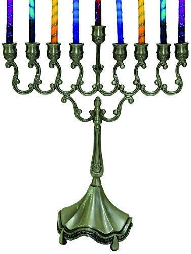 Decorative Menorah Pewter - Majestic Giftware MN-HA19379P Hanukkah Menorah, 8-Inch, Pewter