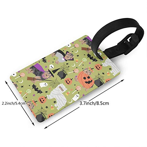 Puyrtdfs Yorkshire Terrier Halloween Costumes Cute Dog Fabric Fall Autumn Green Luggage tags travel bag tags Thick PVC 2.2 X 3.7 inch Size 2.2 X 3.7 inches]()