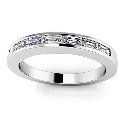 0.91 ct Ladies Baguette Cut Diamond Eternity Wedding Band Ring ( Color G Clarity SI1) 14 kt White Gold In Size 9