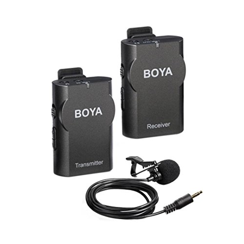 BOYA BY-WM4 2.4GHz Wireless Lavalier Lapel Mic, Omnidirectional Mic System Audio Recording with Easy Clip On, 3.5mm Plug for Canon Nikon Sony DSLR Camera, Camcorder, iPhone 7/7 plus by BOYA