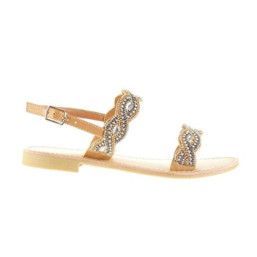 Angkorly 2 Talon Bloc Sandale Mode Chaussure Femme Perle Camel Ouverte Bijoux CM RRgSpxwq